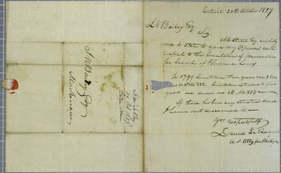 Daniel LeRoy to Bailey re limitations, Letter, 20 October 1827