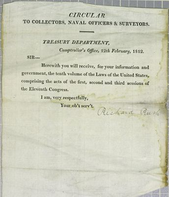 Treasury Department, Circular, 12 February 1812