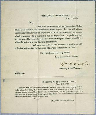 Treasury Department, Circular, 7 May 1818