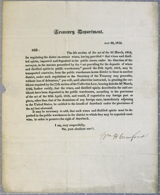 Treasury Department, Circular, 22 May 1819
