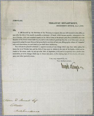 Treasury Department, Circular, 1 June 1820