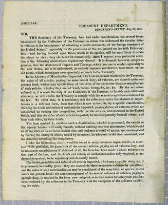 Treasury Department, Circular, 22 July 1820