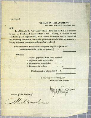 Treasury Department, Circular, 12 October 1820
