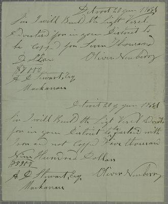 Oliver Newberry, Tender, 20 June 1831