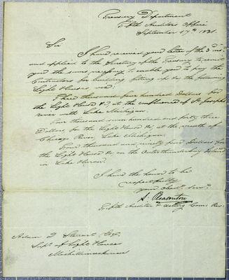Treasury Department, letter, 17 September 1831