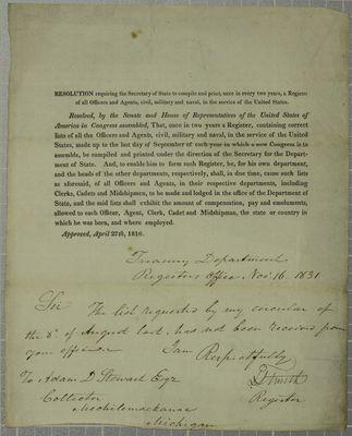 Treasury Department, Circular, 16 November 1831