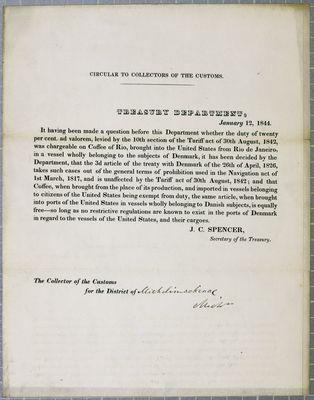 Treasury Department, Circular, 12 January 1844
