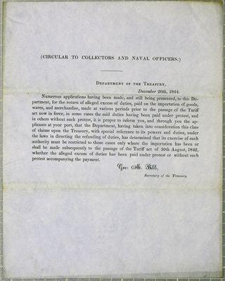 Treasury Department, Circular, 20 December 1844