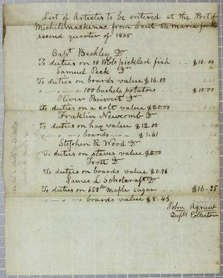 Sault Ste. Marie Entrances, Report, 30 June 1845