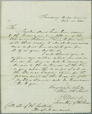 Treasury Department, letter, 15 October 1846