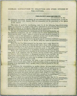 Treasury Department, Circular, 30 October 1846