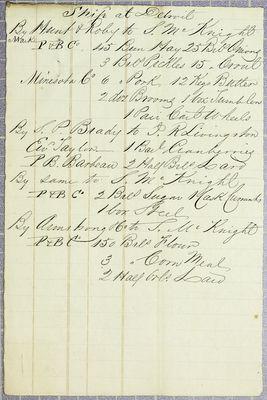 Sheldon McKnight, Invoice, 1848