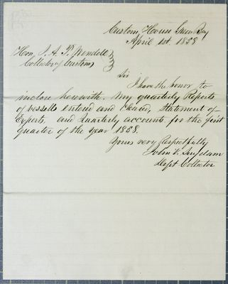 GreenBay customs office, letter, 1 April 1858