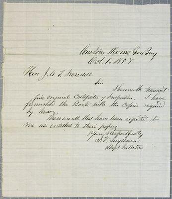 GreenBay customs office, letter, 1 October 1858