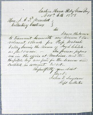 GreenBay customs office, Letter, 6 November 1858