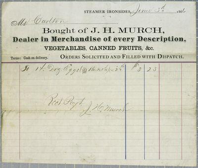 Ironsides, Invoice, 3 June 1866