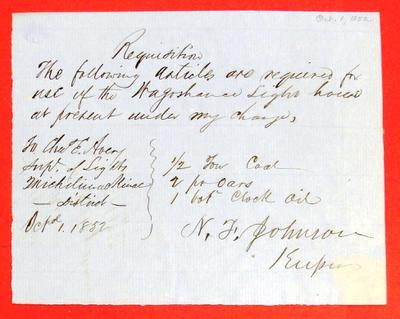 Waugoshance Light House, Supplies, Requisition, 1 October 1852