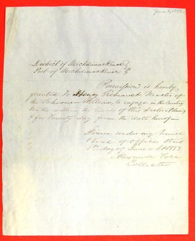 William, Permit, 6 June 1853