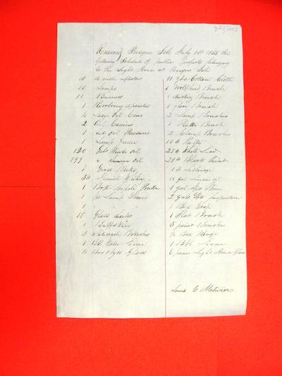 Public property, Presque Isle Light House, Inventory, 1 July 1853