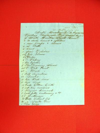 Public property, South Manitou Island Light House, Inventory, 1 July 1853