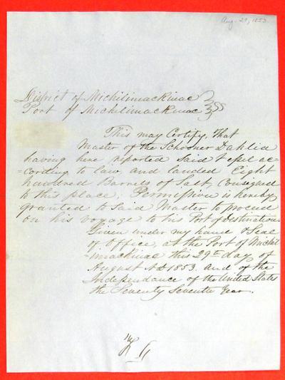 Dahlia, Permit, 29 August 1853