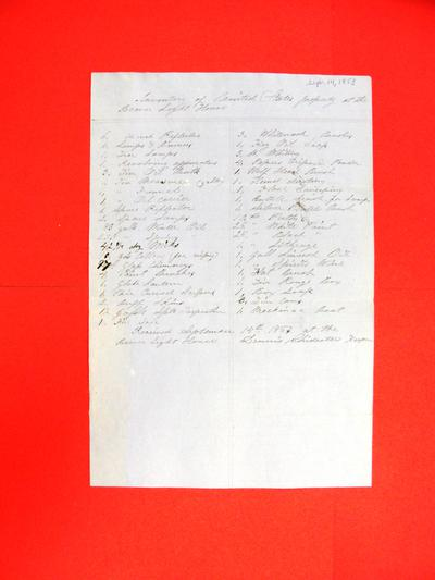 Public property at the Beaver Light House, Inventory, 14 September 1853