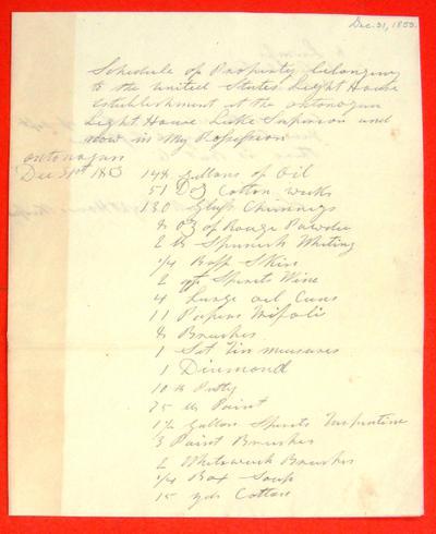 Public property, Ontonogan Light House, Lake Superior, Inventory, 31 December 1853