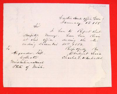Green Bay, Report of Hospital Money, Report, 1 January 1854