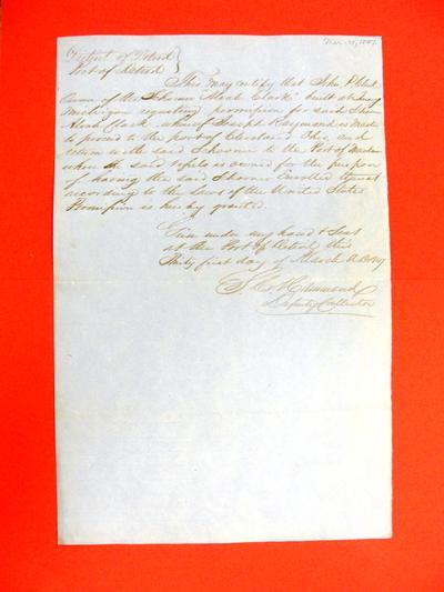 Alvah Clark, Permit, 31 March 1847