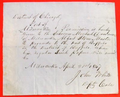 Michael Dousman, Permit, 21 April 1847