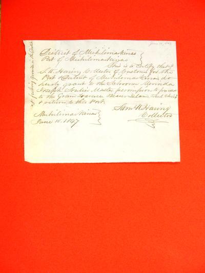 Merinda, Permit, 10 June 1847