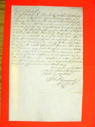 Chicago, Permit, 8 September 1847