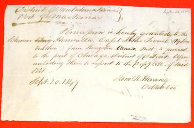 Hennrietta, Permit, 20 September 1847