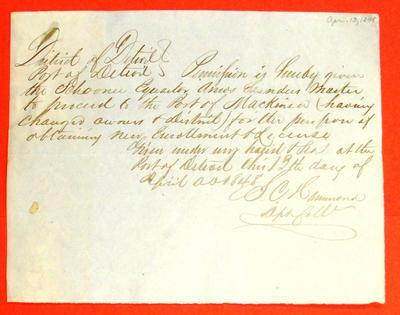 Equator, Permit, 13 April 1848