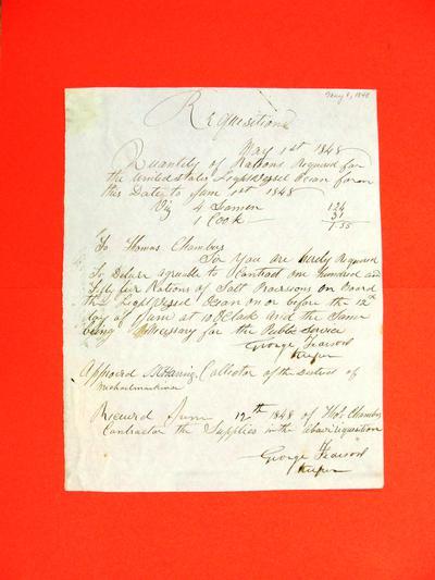 Ocean, Requisition, 1 May 1848