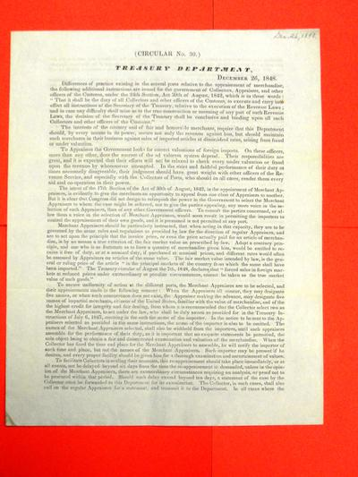 R. J. Walker, Secretary of the Treasury, re system of appraisal, Circular, 26 December 1848
