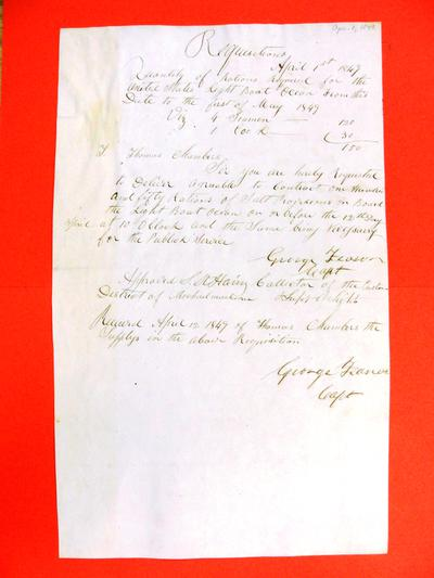 Ocean, Requisition, 1 April 1849