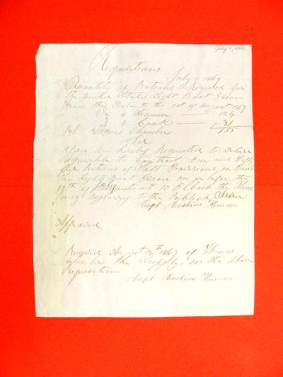 Ocean, Requisition, 1 July 1849