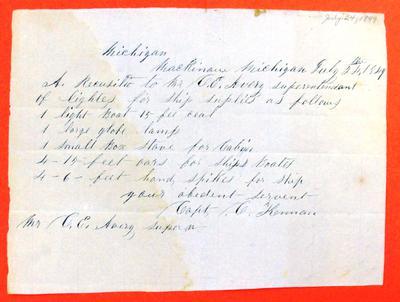 Ocean, Requisition, 24 July 1849