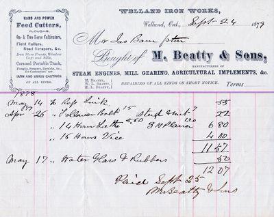 Invoice, M. Beatty & Sons to Jas. Bampton