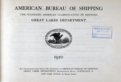 American Bureau of Shipping, Great Lakes Department, 1920