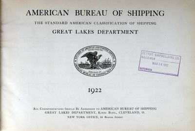 American Bureau of Shipping, Great Lakes Department, 1922