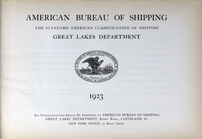American Bureau of Shipping, Great Lakes Department, 1923