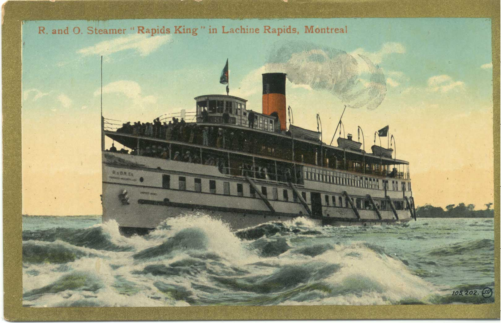 """R. and O. Steamer """"Rapids King"""" in Lachine Rapids, Montreal"""