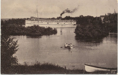 """Steamer """"Monarch"""" in the Soo River"""