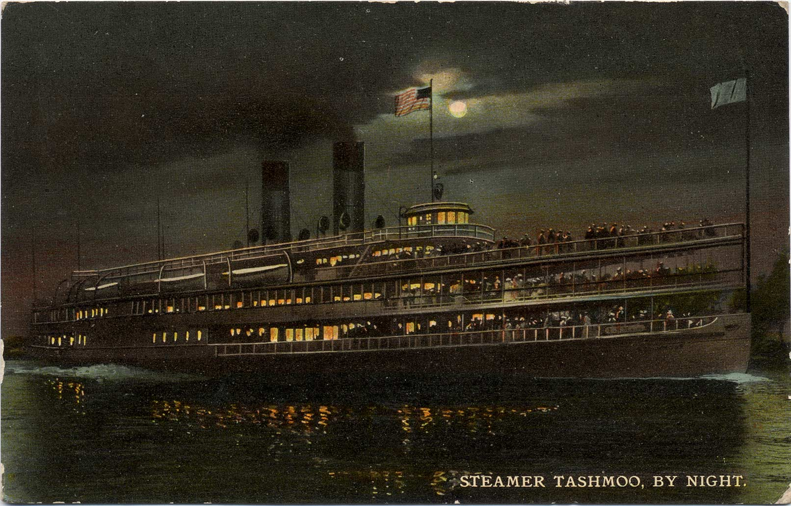 Steamer Tashmoo, by Night