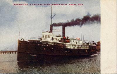 Steamer CITY OF CHICAGO leaving harbor of St. Joseph, Mich.