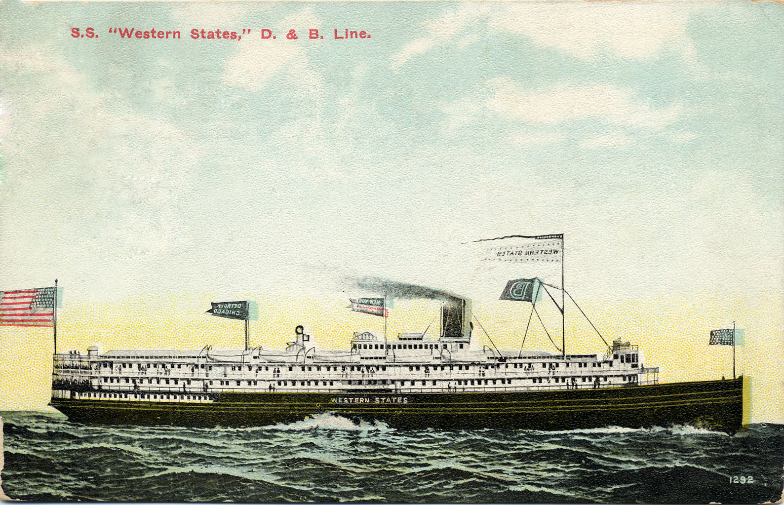"""S. S. """"Western States"""", D. & B. Line"""