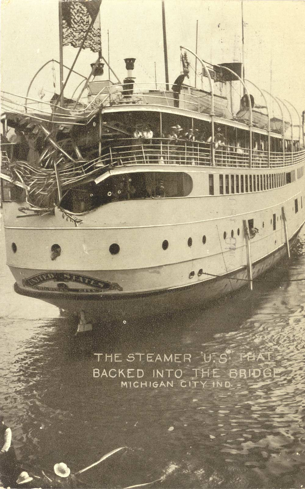 The Steamer U.S. that backed into the bridge, Michigan City, Ind.