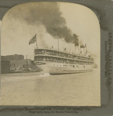 The Roosevelt leaving Chicago for holiday trip